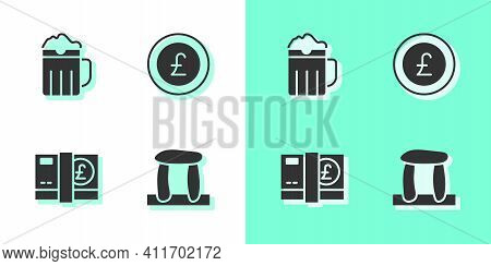 Set Stonehenge, Wooden Beer Mug, Pound Sterling Money And Coin With Pound Icon. Vector