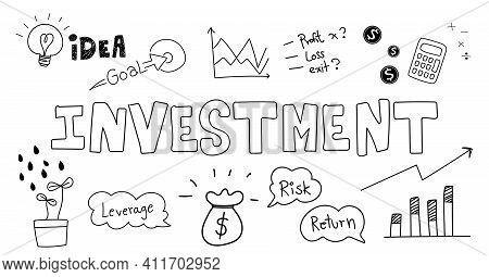 Hand Drawing Vector For Business Investment Doodle With Design Element Graph Chart Money Concept