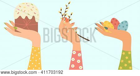 Vector Holiday Greeting Card With Easter Elements. Easter Eggs, Easter Cake And A Willow Branch. Spr