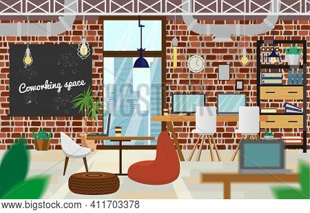 Coworking Space Interior In Loft Style. Open Space Office With Brick Walls, Pipelines,lamps, Beanbag
