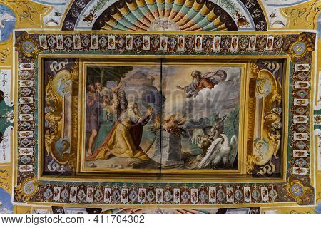 Tivoli, Italy - September 23, 2018: Noah Thanking God For Salvation By Ending The Great Flood By Mat