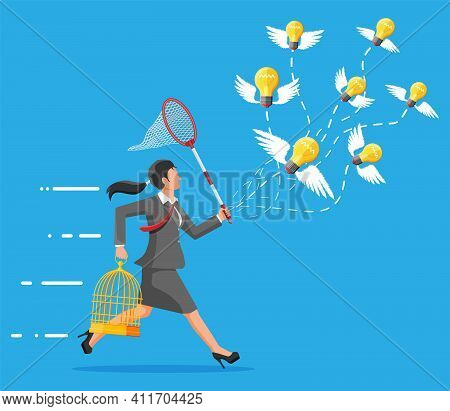 Businesswoman Trying To Catch Idea Light Bulbs With Wings And To Put Them In Cage. Creative Idea Or
