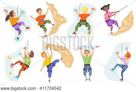 Children Climbing Mountain Wall Set. Boys And Girls Climbers Training Indoors. Vector Illustration F