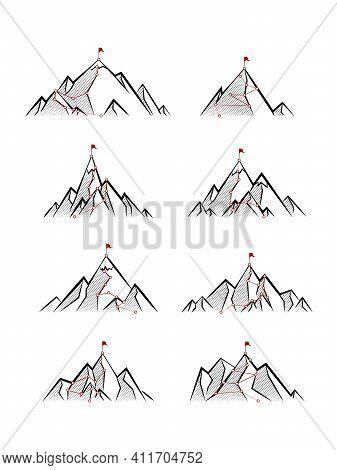 Mountain Paths. Progress, Success Hiking Path Business Metaphor. Cartoon Progress Career Concept. Al