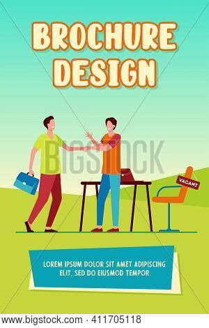 Employer Hiring Candidate. Men Shaking Hands At Vacant Workplace Flat Vector Illustration. Employmen