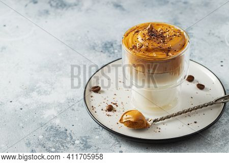 Dalgona Coffee. Iced Fluffy Creamy Whipped Trend Drink With Coffee Foam And Milk. Trendy Drink Durin