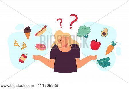 Thoughtful Woman Choosing Between Healthy And Junk Food Flat Vector Illustration. Cartoon Lady Think
