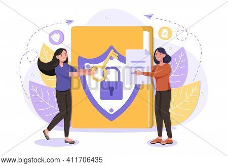 Female User Is Buying Antivirus Software Program To Protect Her Personal Data. Web And Cyber Securit