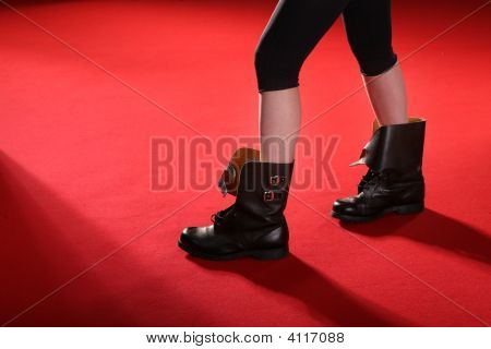 Army Boots On Red Carpet