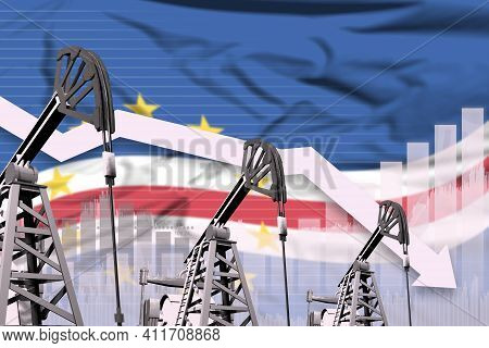Cabo Verde Oil Industry Concept, Industrial Illustration - Lowering Down Chart On Cabo Verde Flag Ba