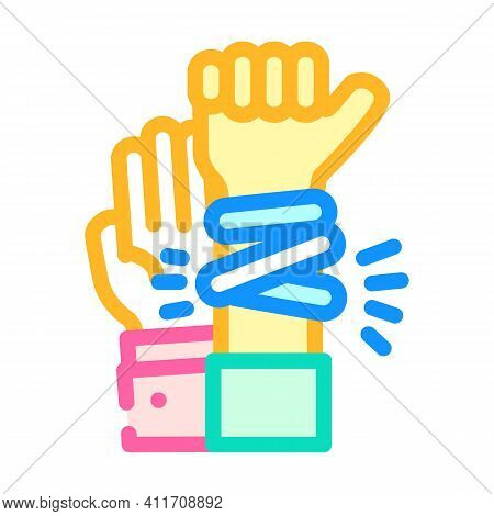 Hands With Glowing Bracelets Color Icon Vector Illustration