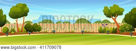 Garden Backyard With Wooden Fence Hedge, Green Trees And Bushes, Grass And Flowers, Park Plants, Hou
