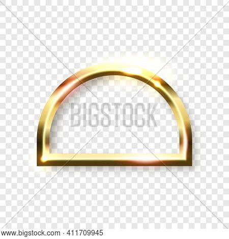 Abstract Shiny Golden Semicircle Frame With White Empty Space For Text, On Transparent Background, V