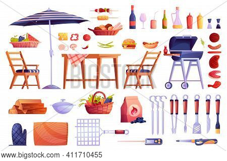 Grill And Barbecue Icons Set, Food And Grilling Equipment Isolated. Vector Bbq Meat, Skewers Forks,