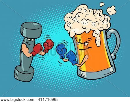 Beer Mug And Dumbbell Box. Healthy And Harmful Lifestyle. Boxing Competition Between Healthy Lifesty