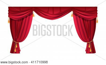 Velvet Red Curtain Isolated Stage Decor. Vector Theatre, Cinema Scene Decoration, Luxury Cornice Dec