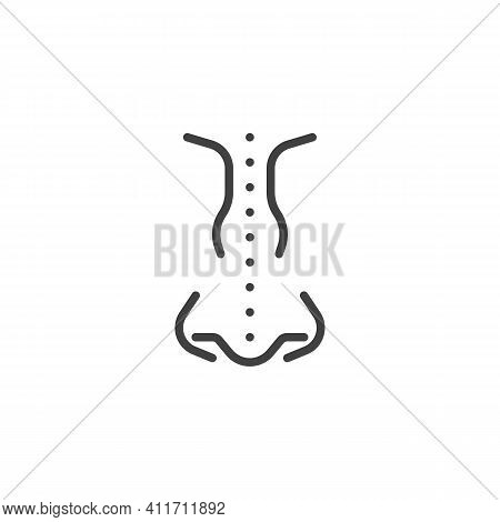 Nose Surgery Line Icon. Linear Style Sign For Mobile Concept And Web Design. Rhinoplasty, Plastic Su