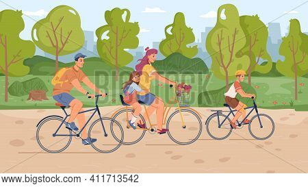 Family Riding On Bicycles In Park, Mother, Father, Son And Daughter On Bikes, Flat Cartoon Design. V