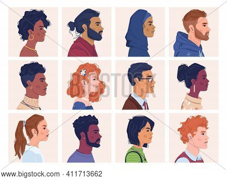 Diverse People, Man And Woman Portraits, Multiracial, Multicultural Crowd, Side View Portraits. Vect