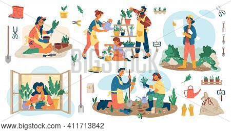 People Planting Flowers In Garden, Man And Woman Gardener S Potting Plants And Veggies Isolated Flat
