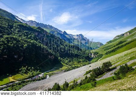 Parking In Mountain Landscape. Pralognan La Vanoise, French Alps