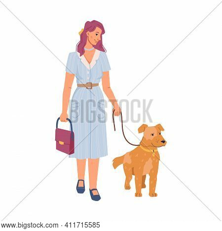 Pretty Woman Walking With Dog Isolated Pet Owner With Canine Animal On Lash, Flat Cartoon Characters