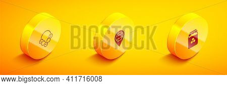 Set Isometric Russian Bagels, Location And Jar Of Honey Icon. Vector
