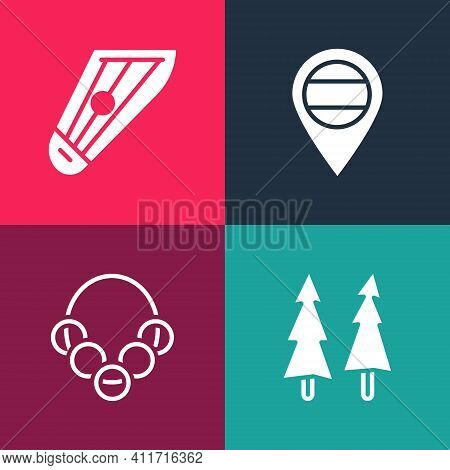 Set Pop Art Christmas Tree, Russian Bagels, Location And Kankles Icon. Vector