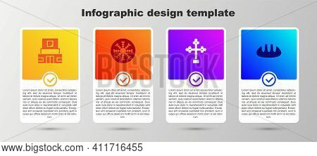 Set Mausoleum Of Lenin, Snowflake, Christian Cross And Bread Loaf. Business Infographic Template. Ve