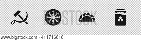 Set Hammer And Sickle Ussr, Snowflake, Dumpling And Jar Of Honey Icon. Vector