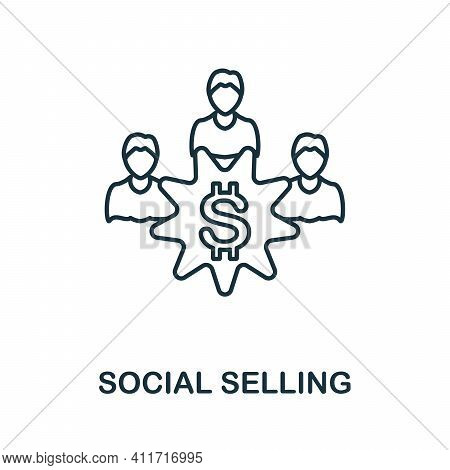 Social Selling Icon. Simple Element From Social Media Collection. Creative Social Selling Icon For W