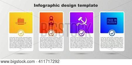 Set Medovik, Russian Doll Matryoshka, Hammer And Sickle Ussr And Made In. Business Infographic Templ