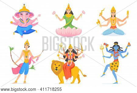 Indian Gods Vector Set. Different Hindu Gods And Goddesses For India, Hinduism And Religion Concept.