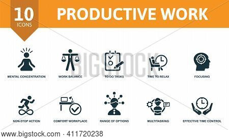 Productive Work Icon Set. Contains Editable Icons Productive Work Theme Such As Work Balance, Time T