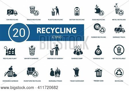 Recycling Icon Set. Contains Editable Icons Recycling Theme Such As Waste, Battery Recycling, Metal