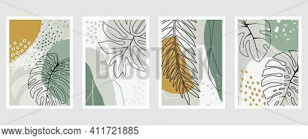 Set Of Vector Hand Drawn Artistic Summer Postcards With Tropical Palm Leaves, Organic Shapes And Tex