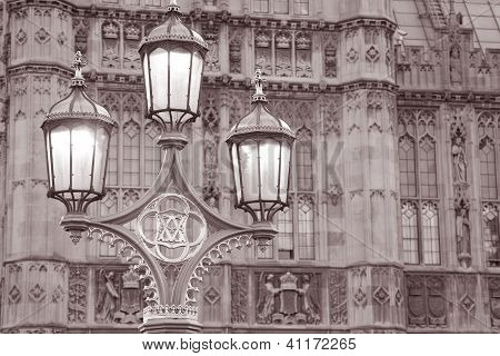 Houses of Parliament and Lamppost in Westminster