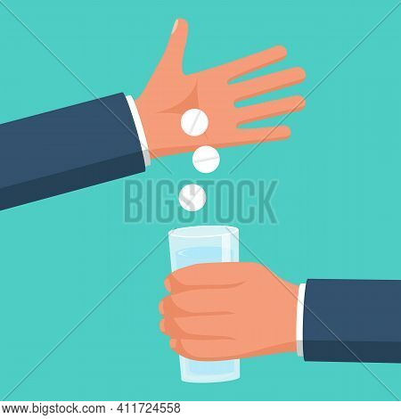 Taking Medications. Man Holds In Hands The Pills And A Glass Of Water. Vector Illustration Flat Desi