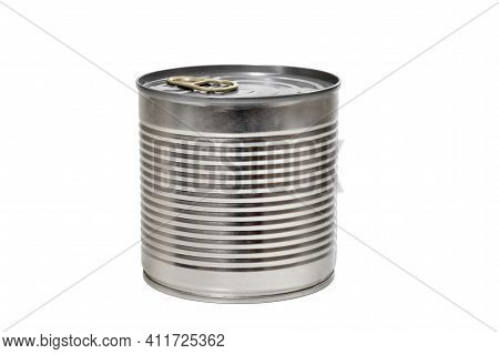 Tin Can Close-up Isolated On White Background, Mock Up For Design. Tin, Metal Can
