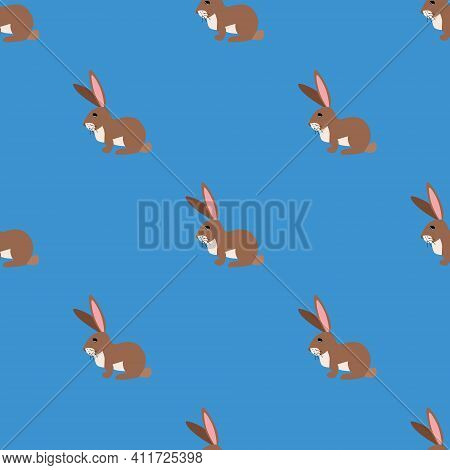 Seamless Vector Pattern With Hares, Chinchilla And Guinea Pig On A Dark Green Background. Background