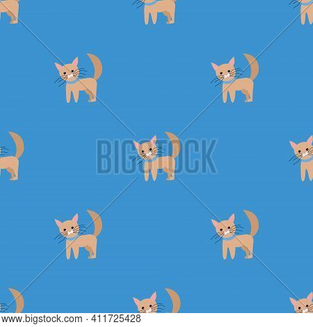 Seamless Vector Pattern With Cats On A Blue Background. Background For Textiles, Covers, Screensaver