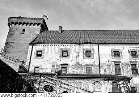 Medieval Castle With A Tower In Otmuchow In Poland, Monochrome