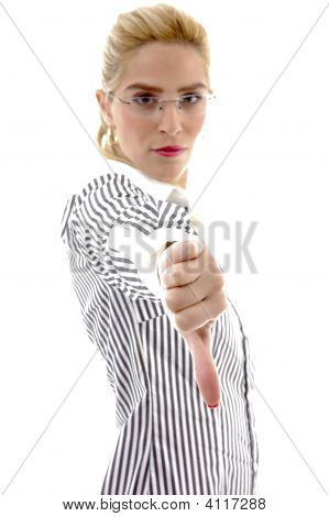 Side View Of Businesswoman With Thumbs Down