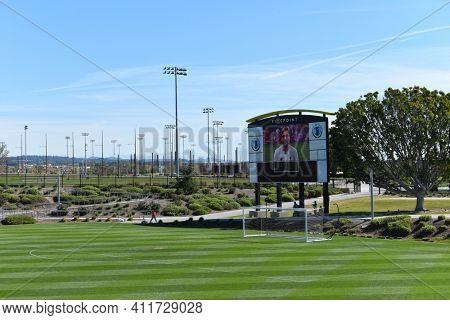 IRVINE, CALIFORNIA - 31 JAN 2020: Video Scoreboard at the Championship Soccer Stadium, Orange County Great Park.