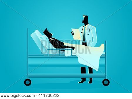 Medical Vector Illustration Of A Doctor Visiting His Patient