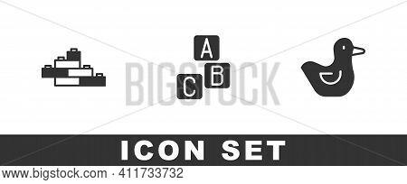 Set Toy Building Block Bricks, Abc Blocks And Rubber Duck Icon. Vector