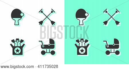 Set Baby Stroller, Racket And Ball, Jack In The Box Toy And Arrow With Sucker Tip Icon. Vector