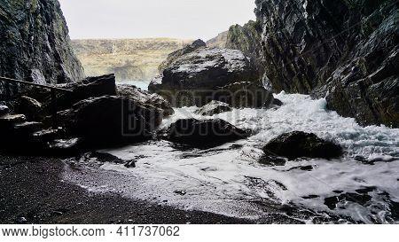 Big Rocks In Surge Of Atlantic Ocean In Ajuy Fuerteventura