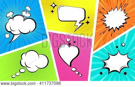 Comic Empty Speech Bubbles Set On Colorful Background. Sound Effects In Pop Art Style. Retro Style C