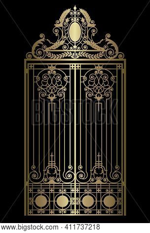 Gold Vintage Gate With Forged Ornaments On A Black Background